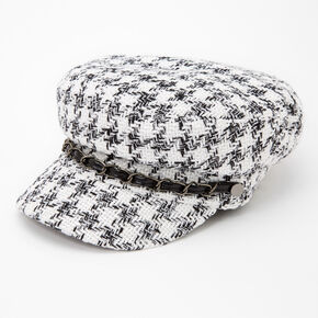 Black and White Plaid Captain Hat,