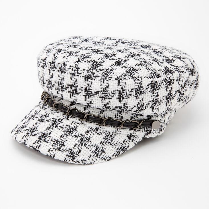 Black and White Plaid Captain Hat,