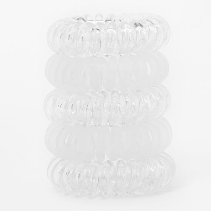 Matte Shiny Spiral Hair Bobbles - Clear, 5 Pack,