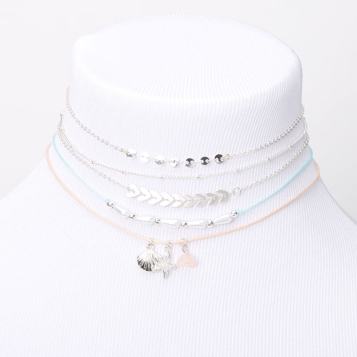 Silver Pastel Beachy Mixed Choker Necklaces - 5 Pack,
