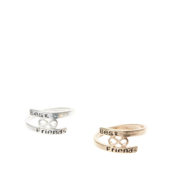 Bagues d'amitié symbole infini couleur dorées et couleur argentés,