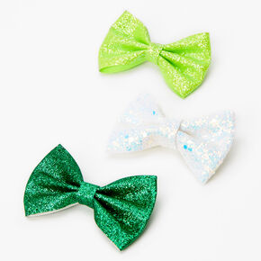 Glitter Hair Bow Clips - Green, 3 Pack,