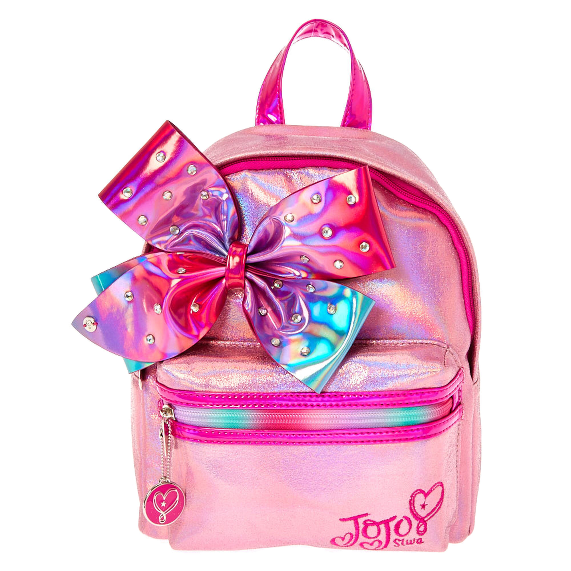 Jojo Siwa Pink Shimmer Bedazzled Bow Mini Backpack