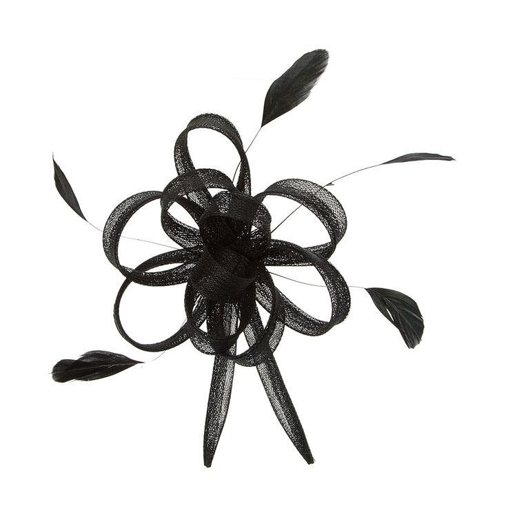 Barrette à plumes et boucles en tulle noir,