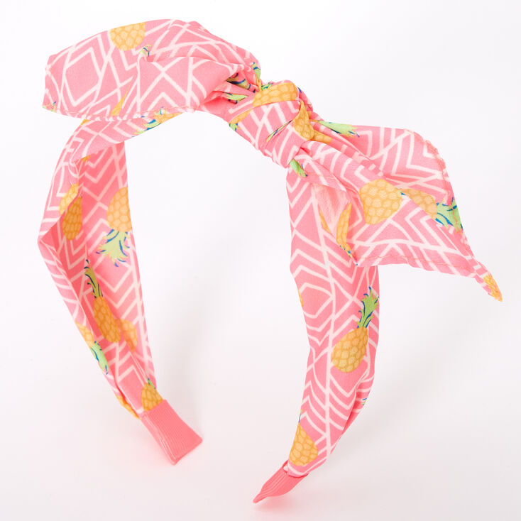 Neon Pineapple Knotted Bow Headband - Pink,