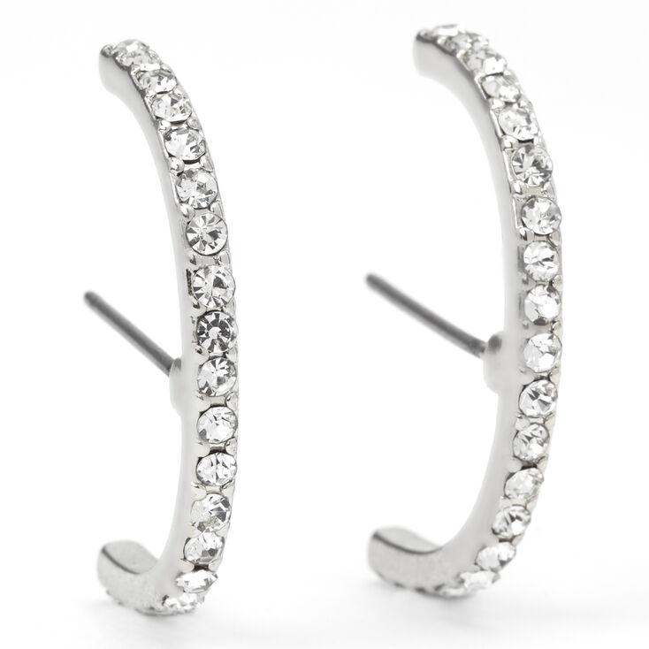 Silver Embellished Hook Stud Earrings,