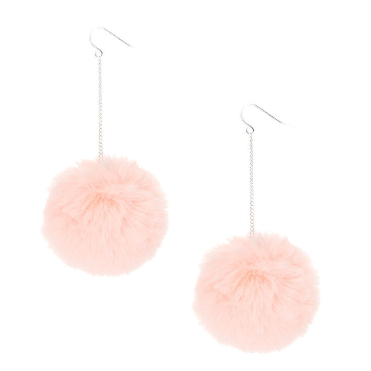 golden and pink earrings pink pompom