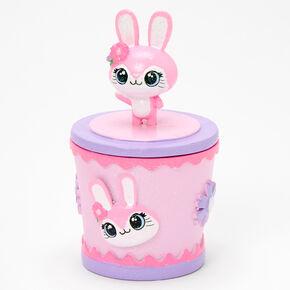 Boîte à babioles lapin à paillettes - Rose,