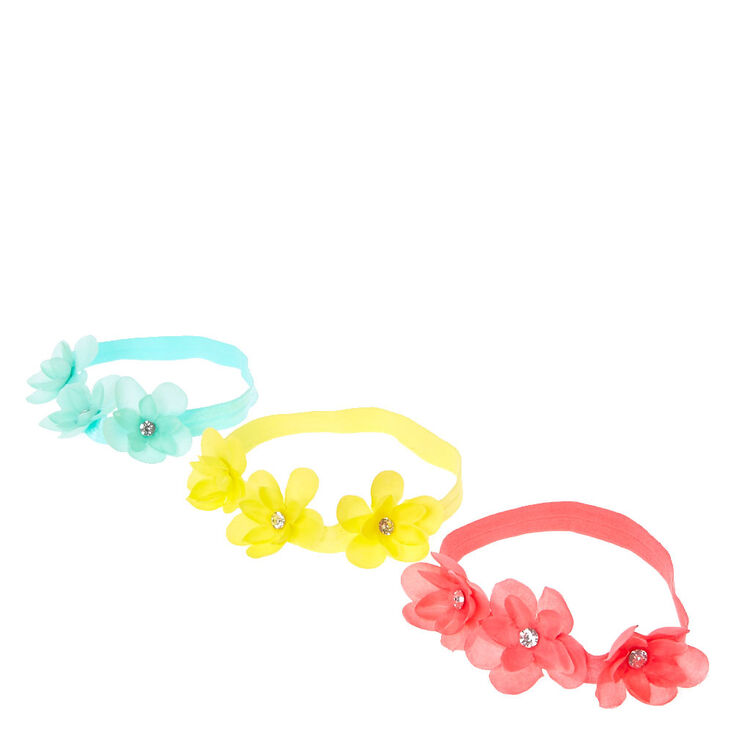 Claire's Club Bright Flower Headwraps - 3 Pack,