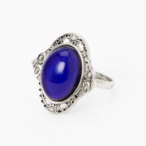 Silver Filigree Band Oval Mood Ring,