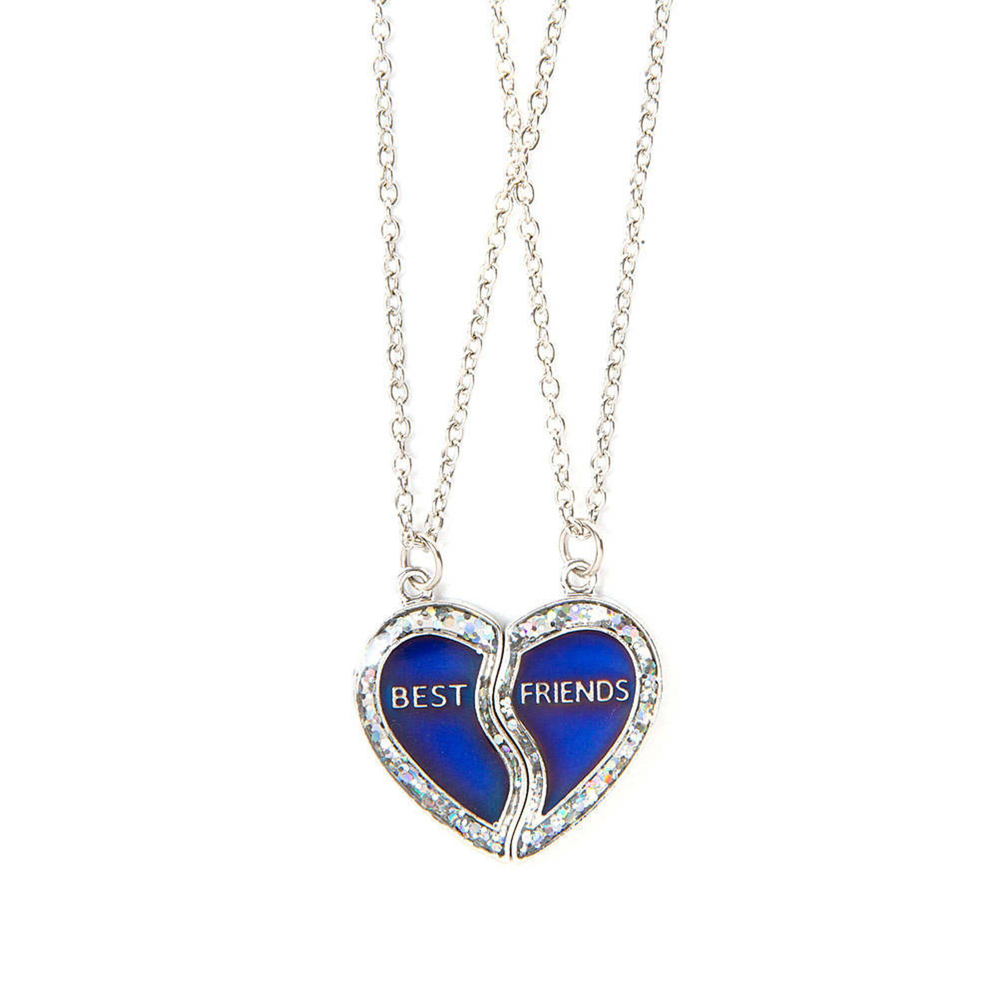 Best friends glitter mood half heart pendant necklaces claires us best friends glitter mood half heart pendant necklaces aloadofball Choice Image