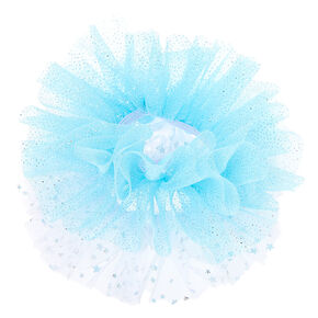 Claire's Club Small Glitter Tulle Hair Scrunchies - Blue, 2 Pack,