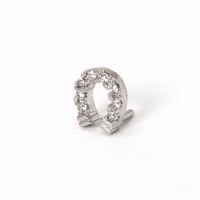 Silver 16G Embellished Horseshoe Tragus Stud Earring,