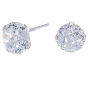 Sterling Silver Cubic Zirconia 7MM Round Stud Earrings,