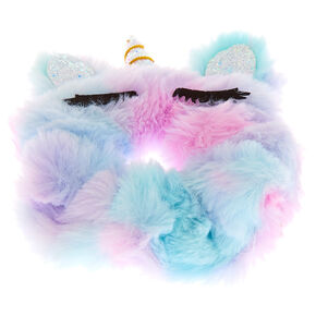 Meduim Faux Fur Pastel Ombre Unicorn Hair Scrunchie,
