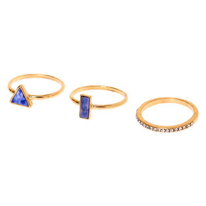 Gold Geometric Marble Stone Rings - Blue, 3 Pack,