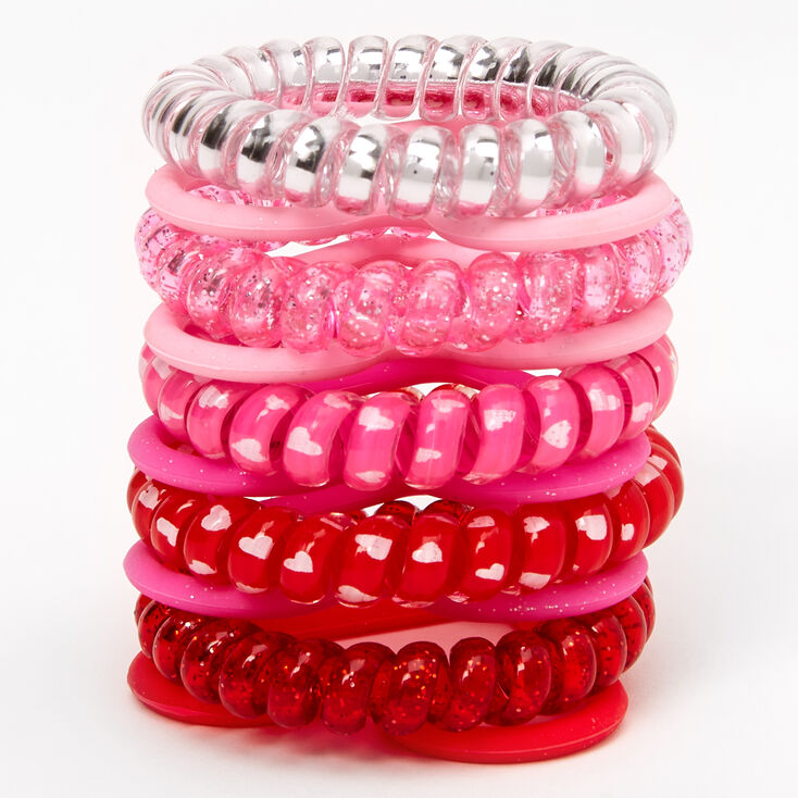 Pink & Red Coils and Hearts Bracelets - 10 Pack,