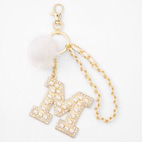 Gold Bling Initial Pom Pom Keyring - White, M,