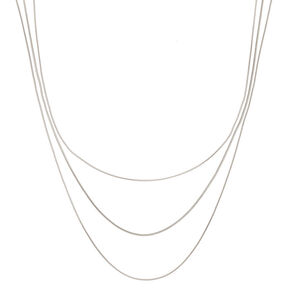 Silver Snake Chain Multi Strand Necklace,