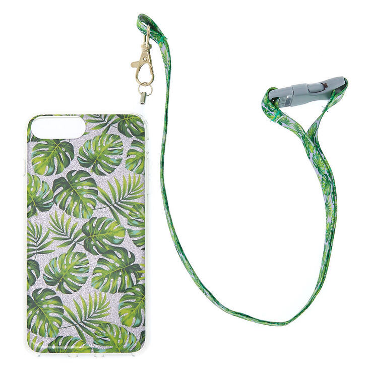 Palm Leaf Glitter Phone Case with Lanyard - Fits iPhone 6/7/8 Plus,