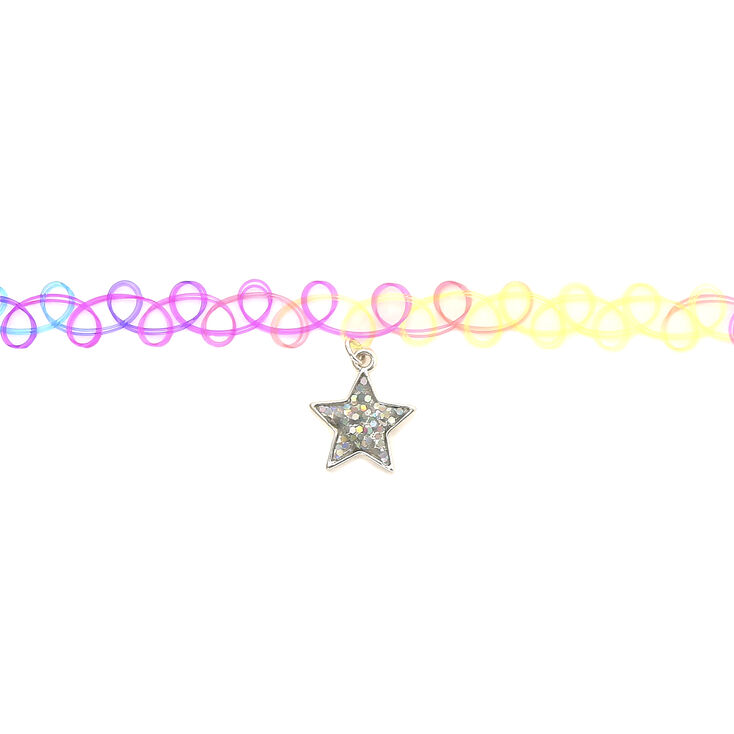 Claire's Club Star Rainbow Tattoo Choker Necklace,