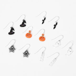 "Silver 0.5"" Halloween Drop Earrings - 6 Pack,"