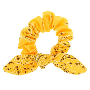 Small Bandana Knotted Bow Hair Scrunchie - Yellow,