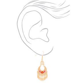 """Gold 2.5"""" Beaded Tassel Drop Earrings - Fuchsia,"""