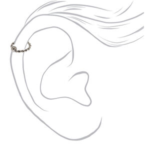 Silver 18G Titanium Twisted Ball Cartilage Hoop Earring,