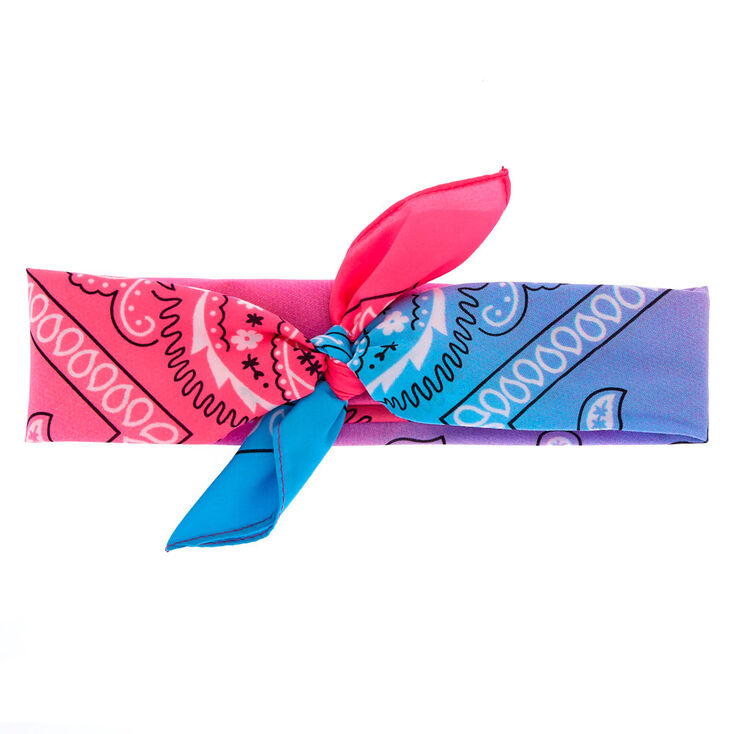 Blue & Pink Cool Ombre Paisley Bandana Headwrap,