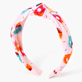 Donut Print Twisted Headband - Pink,