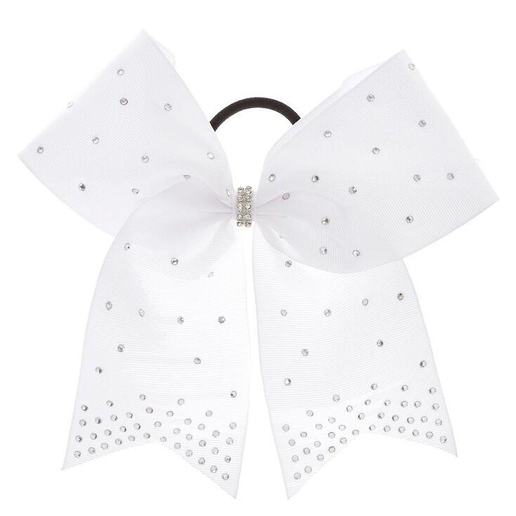 White Rhinestone Cheer Bow Hair Tie  dfbad1755f4