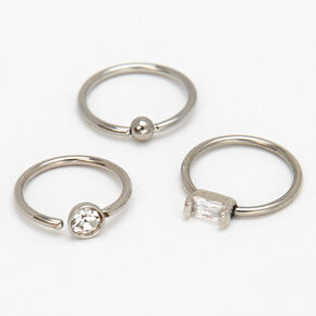Silver 20G Mixed Design Hoop Nose Rings - 3 Pack,