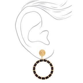 """Gold 2.5"""" Woven Lion Hoop Drop Earrings - Black,"""