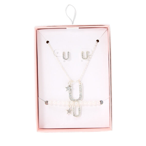 Claire's - iridescent glitter initial letter u jewelry set - 1