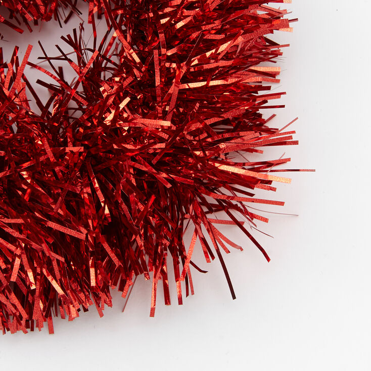 Medium Tinsel Hair Scrunchie - Red,