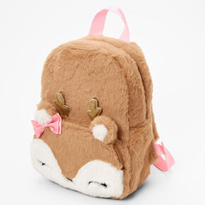 Claire's Club Furry Deer Small Backpack - Brown,