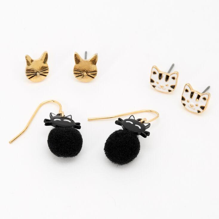 Gold Cat Pom Pom Mixed Earrings - 3 Pack,