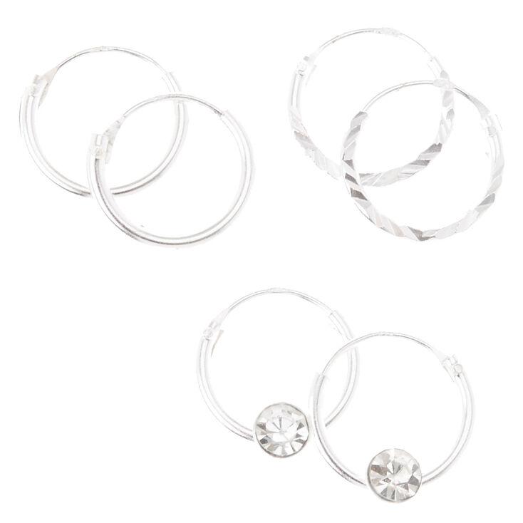 10MM Sterling Silver Textured & Crystal Hoop Earrings Set,
