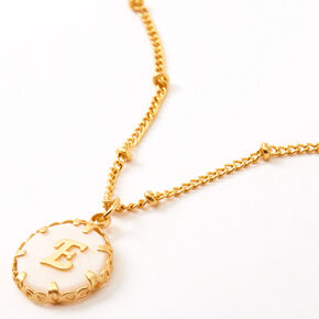 Gold Shell Initial Pendant Necklace - E,