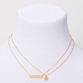 Gold Heart Cut Out Bar Pendant Necklaces - 2 Pack,