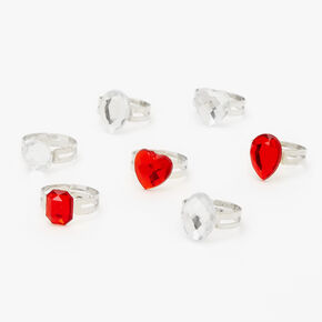 Claire's Club Silver Holiday Gemstone Rings - 7 Pack,