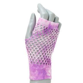 Gants en résille motif tie-dye violet et blanc,