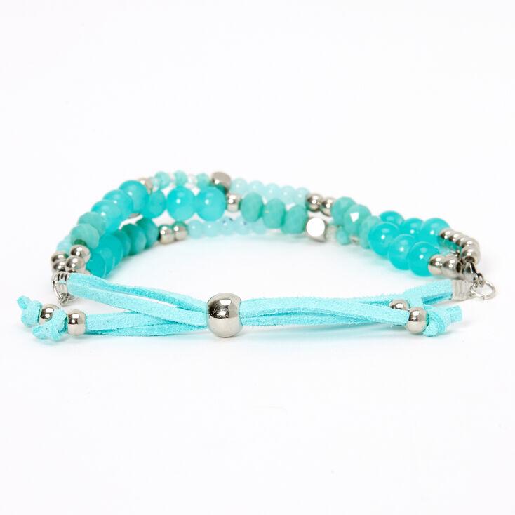 Bracelet réglable perlé couleur argentée - Vert menthe,