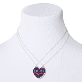 Best Friends Glitter Heart Pendant Necklaces - Magenta, 2 Pack,