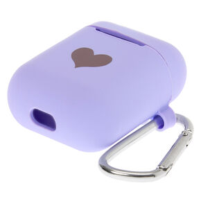 Lavender Heart Silicone Earbud Case Cover - Compatible With Apple AirPods,
