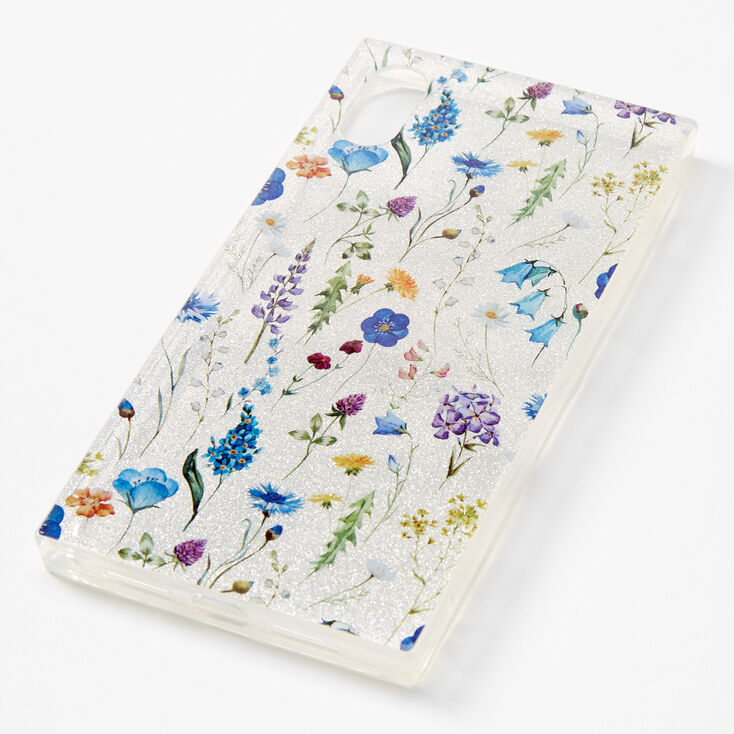 Floral Sparkly Silver Phone Case - Fits iPhone XR,