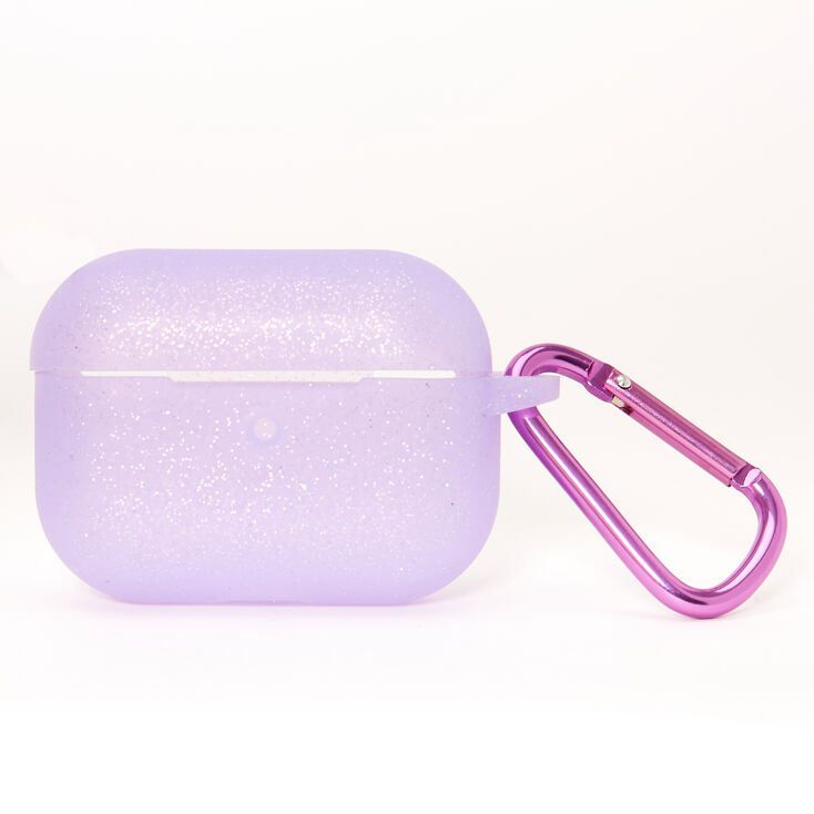 Étui pour écouteurs motif cœur en silicone à paillettes violettes - Compatible avec les AirPods Pro® de Apple,