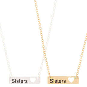 Best Friends Sisters Pendant Necklaces - 2 Pack,