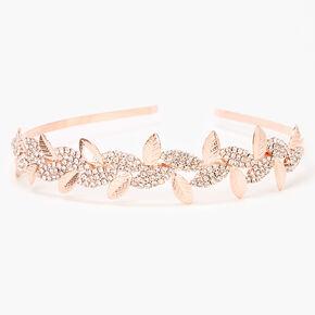 Rose Gold Sleek Rhinestone Pave Leaf Headband,